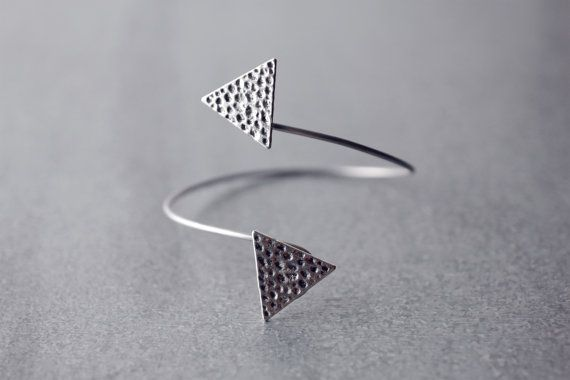 Silver tone armlet with triangles, Upper arm adjustable gypsy arm cuff, Aztec above the elbow bracelet