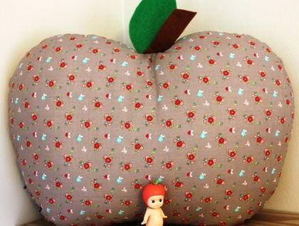 Grey Floral Apple Cushion