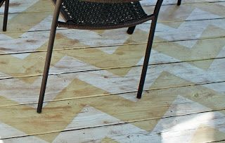 Painted rug on the deck.  Love the chevron pattern