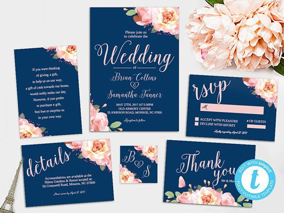 navy blush floral wedding invitation printable template blush and navy editable wedding invitation set - Navy And Blush Wedding Invitations