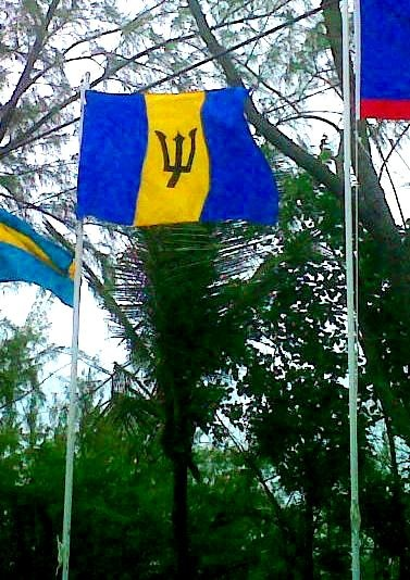 """Blue, yella an' black, Put it up!"" Barbados Flag"