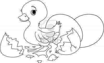 Pasen eendje springen uit gebroken ei. Kleurplaat Stockfoto - 9220462