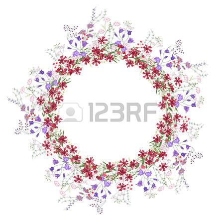 Detailed contour wreath with bluebells carnations and wild flowers isolated on white Round frame for Stock Vector