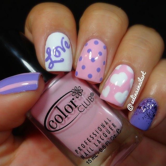 Pink And Purple Valentineu0027s Day Nail Art