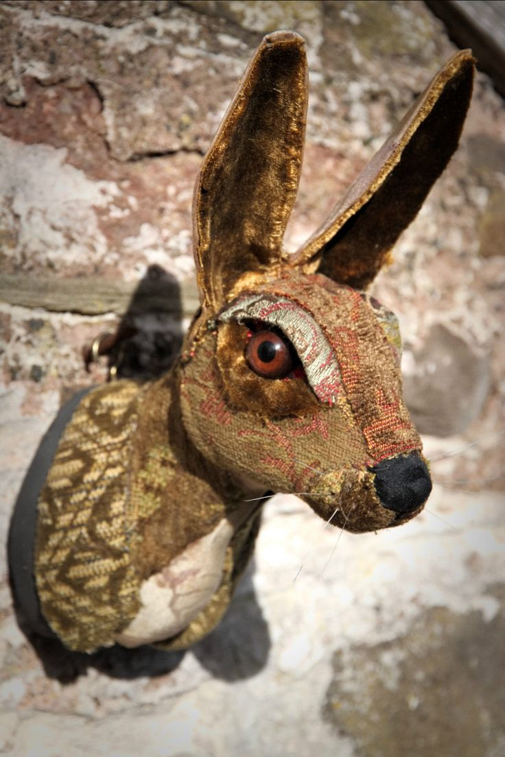 Hare Rabbit fauxidermy textile fabric taxidermy head mounted life size | eBay