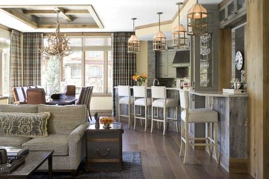 Vail Mountain Luxe  Bar  Dining  Great Room  Kitchen  Rustic  TraditionalNeoclassical  Transitional by Bardes Interiors