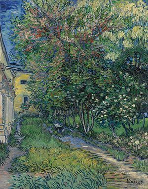 SPRING: The garden of the asylum at Saint-Rémy (May 1889) - Oil on canvas. In May 1889, after several periods of treatment in the Arles hospital, Van Gogh admitted himself to the Saint-Paul de Mausole asylum in Saint-Rémy-de-Provence. Van Gogh here depicted a shaded pathway running along the outside of the north wing of the men's quarters in the asylum, where he had been allowed to establish a studio.  Photograph: Rik Klein Gotink/Kröller-Müller Museum, Otterlo, the Netherlands