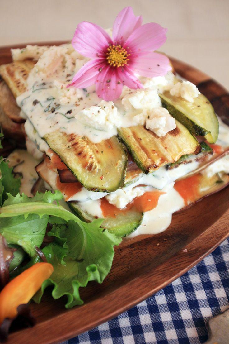 Gegrillte Zucchini, Auberginen & Räucherlachs Lasagne
