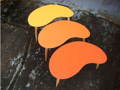 Midcentury-style CVA Editions tables by Judy Clark