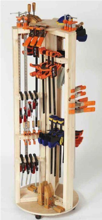 Carousel Clamp Rack Woodworking Plan #woodworkingclamps #woodworkingplansboxes #...