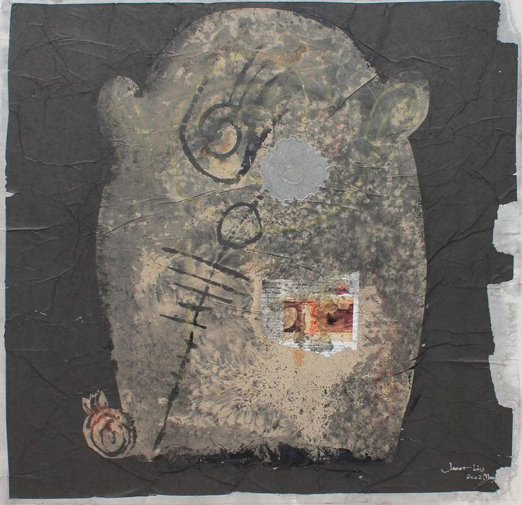 No Word, 2002, 77x77cm<br> Ink/mixed media on rice paper/canvas