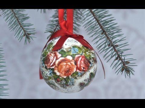 DECOUPAGE Christmas bauble with an angel DIY HANDMADE - YouTube