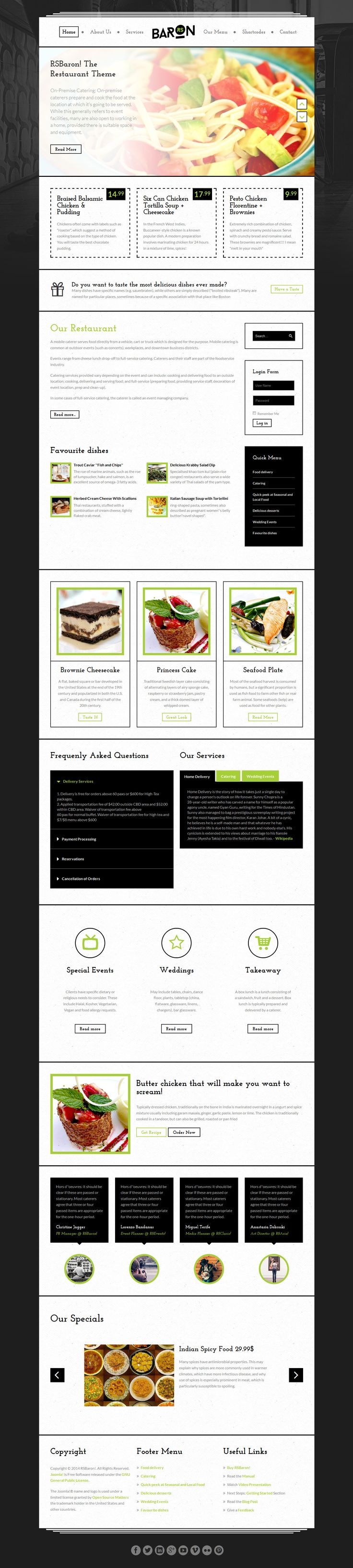 RSBaron! template - a focus on the restaurant business