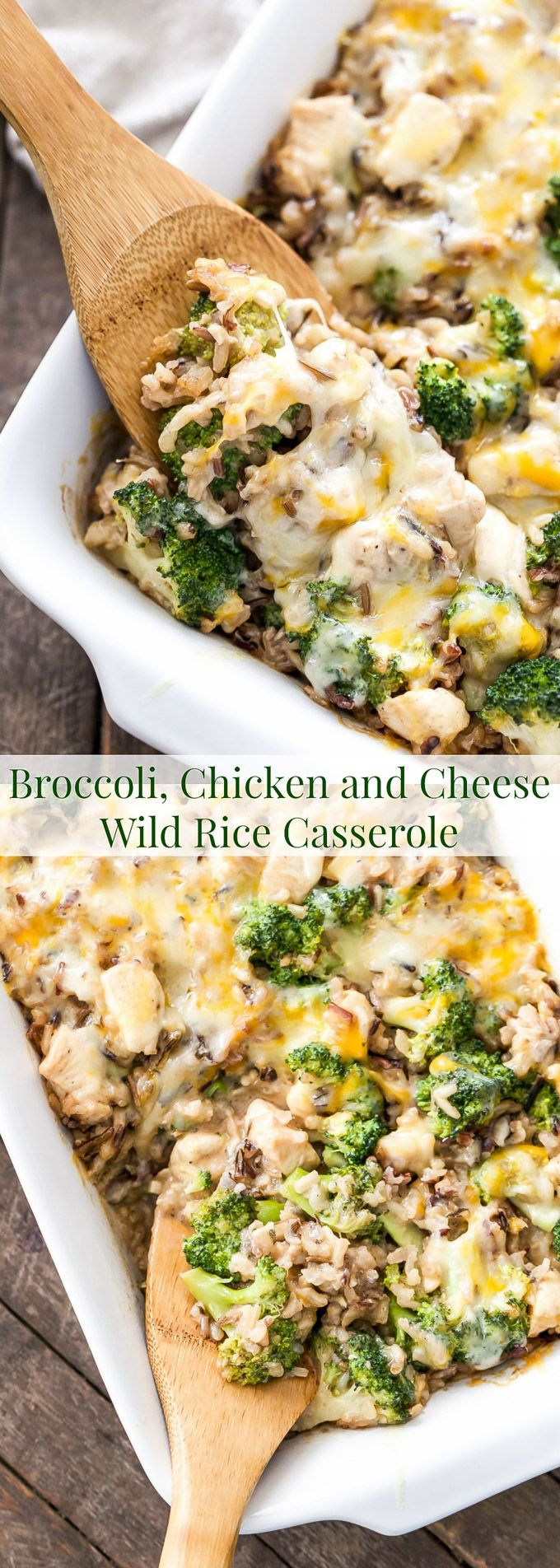 This Broccoli, Chicken and Cheese Wild Rice Casserole is a healthy and delicious dinner that can be made ahead of time, perfect for busy nights!