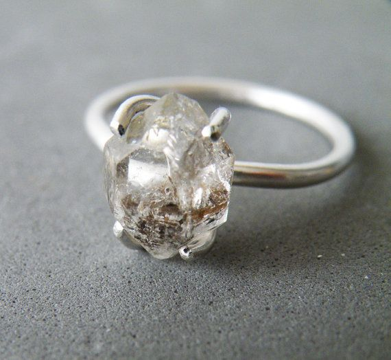 45 best herkimer diamond rings images on pinterest herkimer herkimer diamond ring sterling silver stacking ring rough quartz engagement ring by steamylab junglespirit Gallery