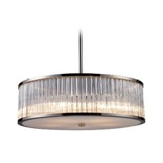 elk lighting modern drum pendant light with clear glass in polished nickel finish