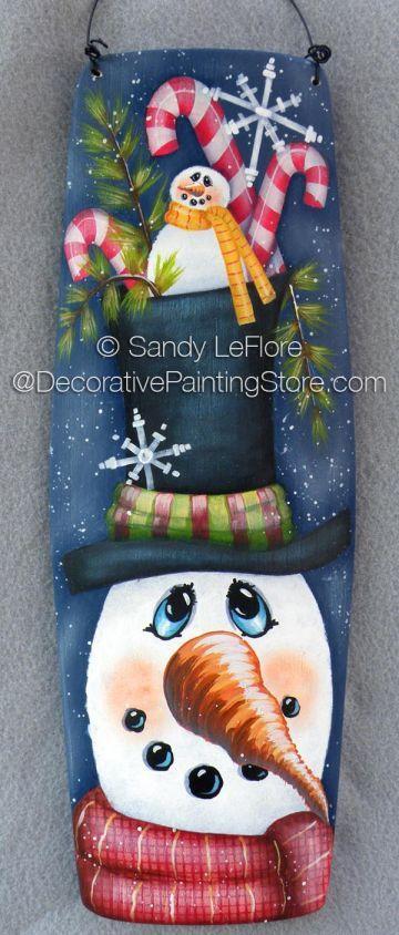 Candy Top Frosty ePattern - Sandy LeFlore - PDF DOWNLOAD #paintingpattern #snowmanbarrelstave #cutesnowmansign
