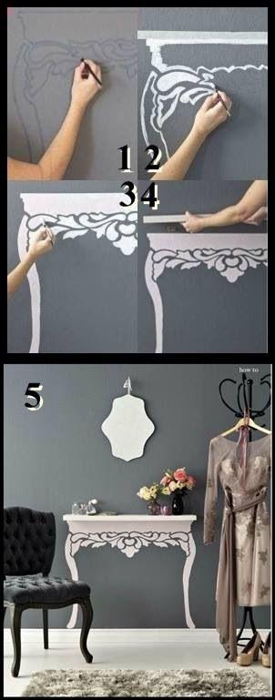 Table/shelf DIY Hallway idea