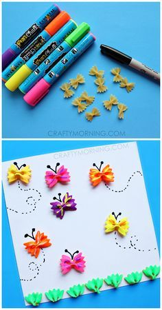Make bow-tie noodle butterflies for a kids craft! | http://CraftyMorning.com Great art and craft kits for children and nursery decor http://gillsonlinegems.blogspot.com