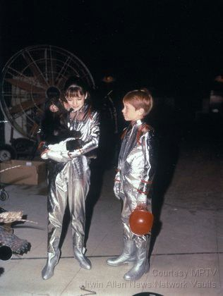 """On the set of """"Lost in Space"""" Angela Cartwright, Bill Mumy, and Debbie the Bloop (out of her make-up)"""
