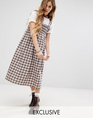 Reclaimed Vintage Midi Dress In Check With Shirring