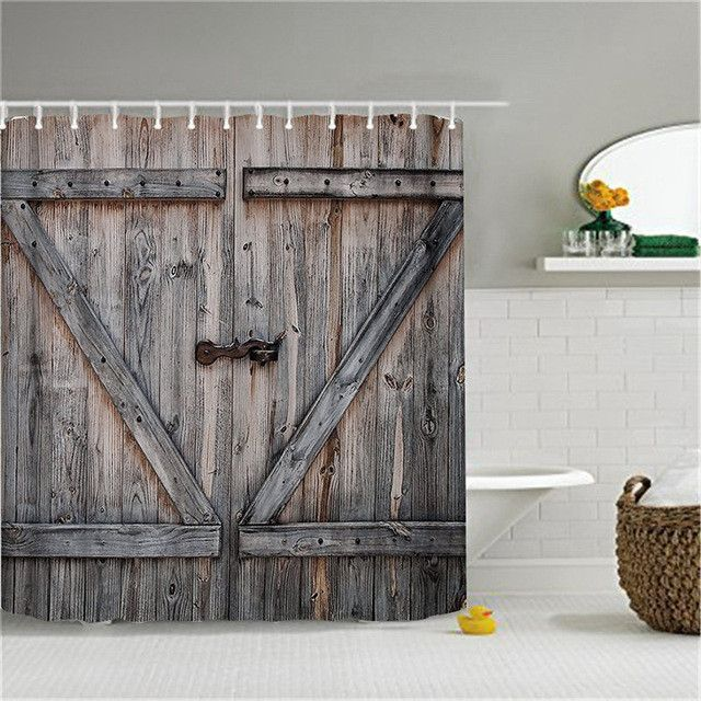 Barn Door Shower Curtain With Hooks