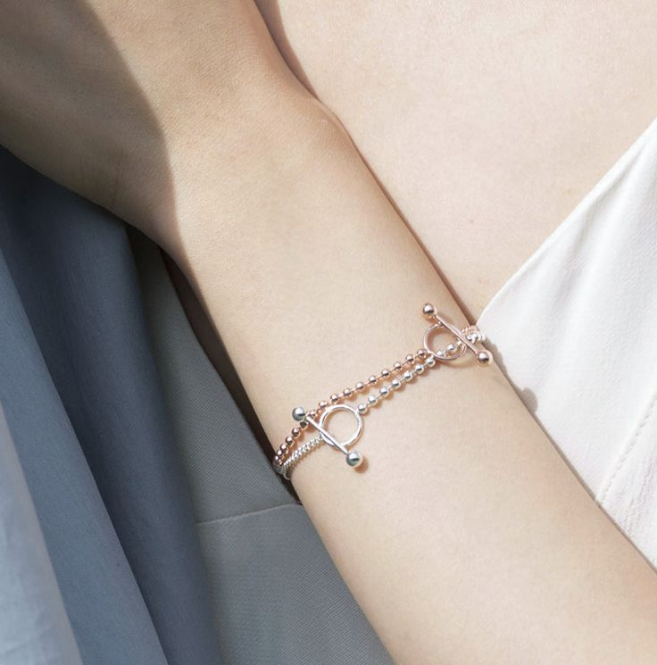 Sterling Silver Toggle Chain Ball Bracelet Rose Gold