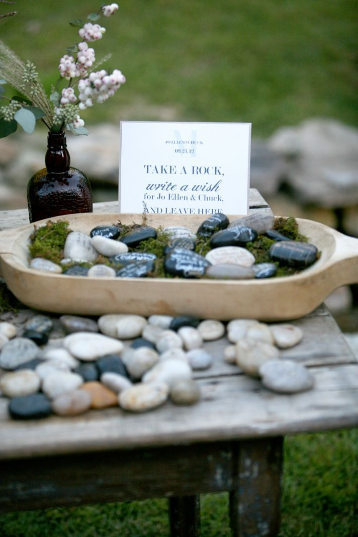 Do you plan on including a guest book alternative? We are obsessing over these wish rocks! #cedarwoodweddings Southern Chic Wedding at Cedarwood | OneWed