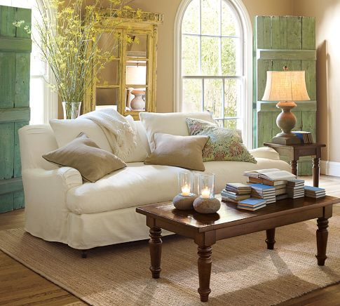 @potterybarn: Decor, Idea, Living Rooms, Colors, Barns Doors, Studios Couch, Shutters,  Day Beds, Pottery Barns