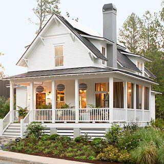metal roof, wrap-around porch, fireplace