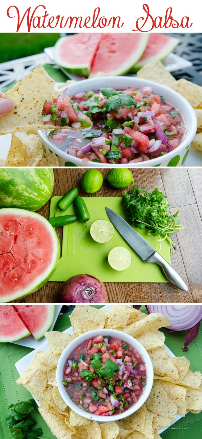 Watermelon Salsa recipe. This recipe is sweet and spicy and uses only simple, fresh ingredients. A summer time faves!