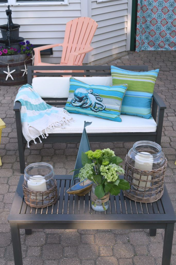 World Market patio furniture ideas, celebrating outdoor living, how to add function, style, and a casual space to relax. Sharing simple solutions, DIY projects, and storage ideas for toys. @worldmarket #worldmarkettribe To see more click on the post or visit-  http://ourhousenowahome.com/
