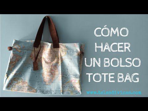 Hacer bolso tote bag con tela mapamundiTelas Divinas. Tienda de telas online