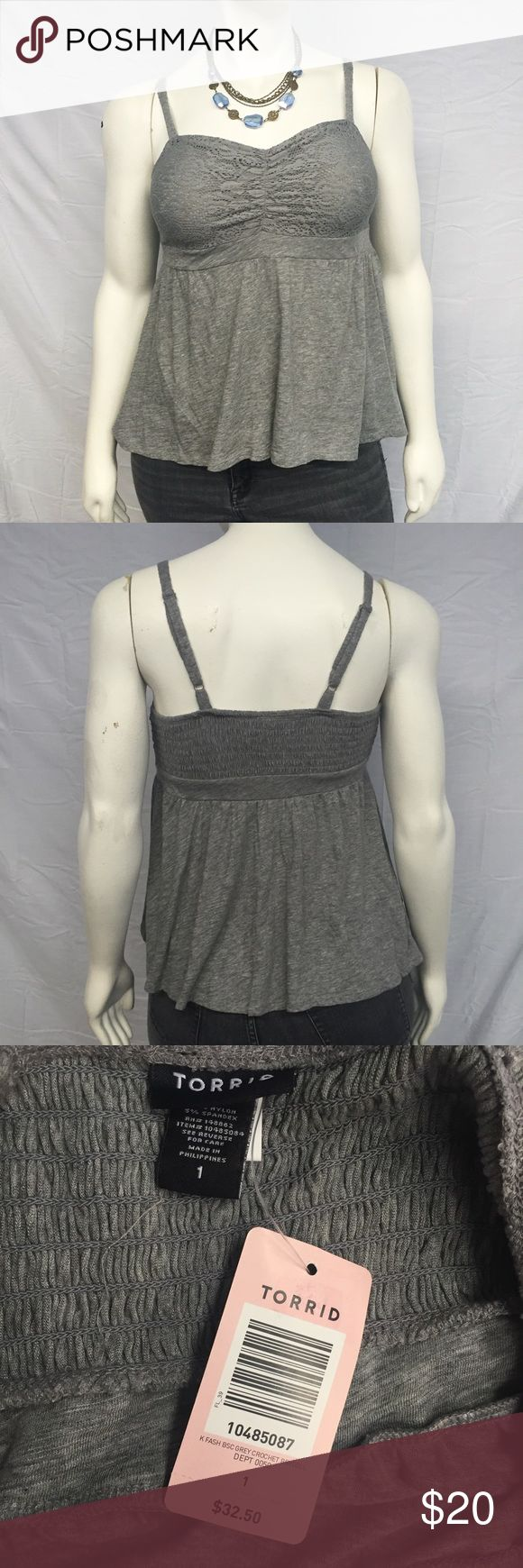 Torrid Heather Lace Tank Cute heather grey tank top from torrid! Fitted lace bodice. Smocked back. Adjustable straps. Empire waist. New with tags, never worn. Smoke and pet free home. torrid Tops Tank Tops