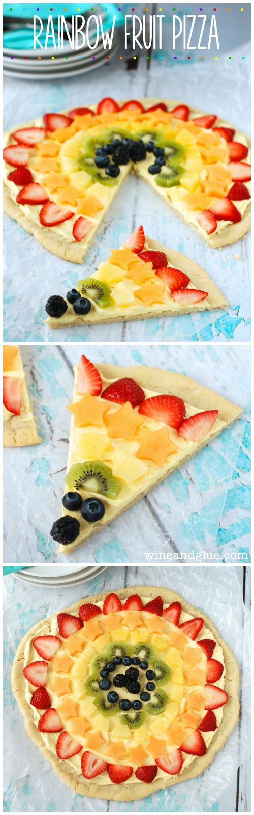 Rainbow Fruit Pizza   This is so easy, but it is so yummy and pretty!