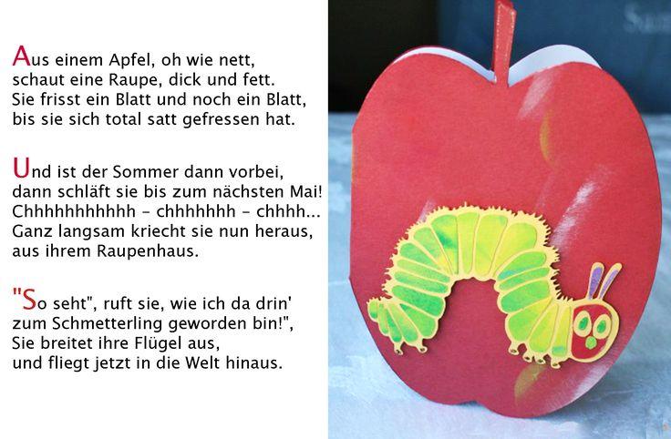 Schmetterling Kleine Raupe Nimmersatt  Kindergarten Erzieherin Kita Kinder Erziehung Reim Sommer Pflanzen Tiere Gedicht