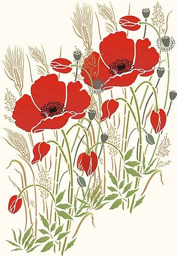 Poppy Stencils Poppy and Wild Grasses Stencil Poppies and Grasses