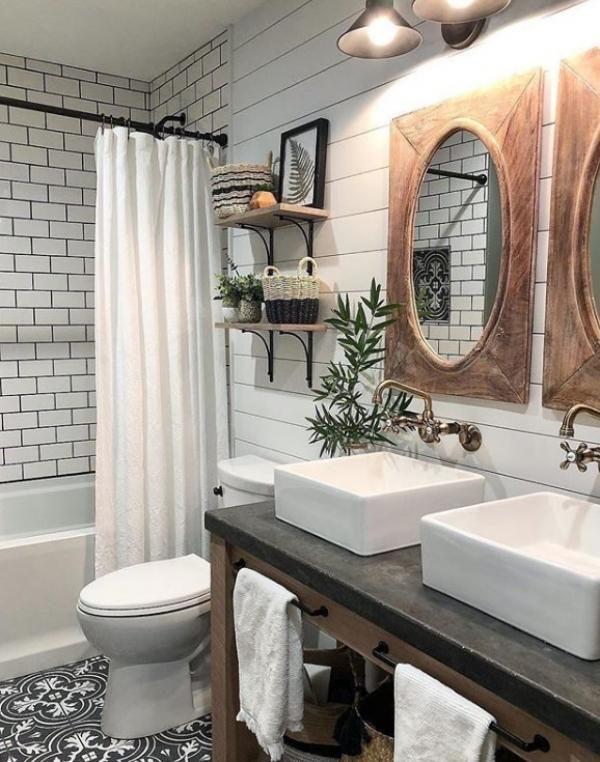 22 Cute Small Farmhouse Bathroom Decoration Ideas