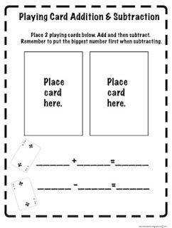Playing Card Addition & Subtraction print out from The Lesson Plan Diva.  Lots of good freebies on this site!!