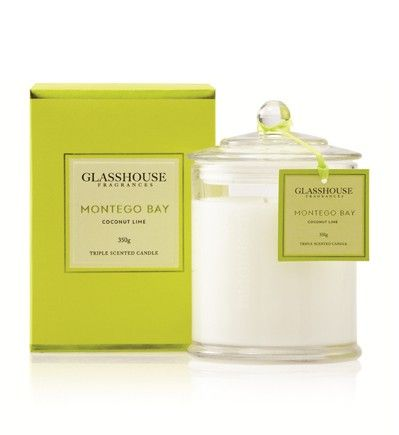 Montego Bay Coconut Lime 350g Triple Scented Candle by Glasshouse Fragrances