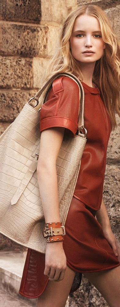 Leather dress and bag. Belstaff Spring/Summer 2013