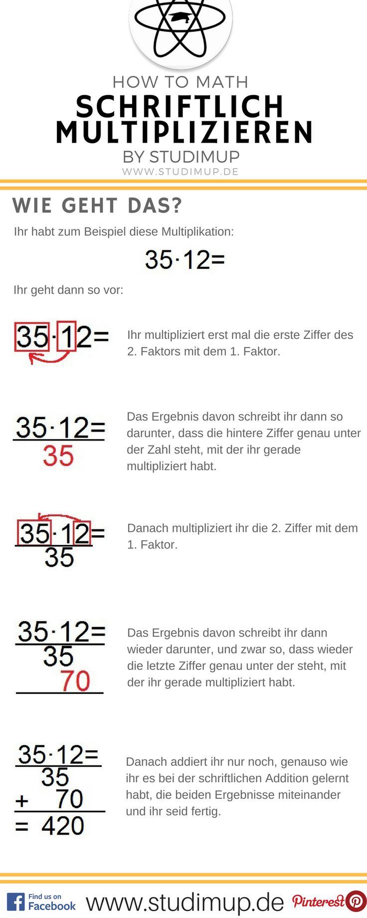 Schriftlich rechnen einfach im Spickzettel von Studimup erklärt. Hier die schriftliche Multiplikation.