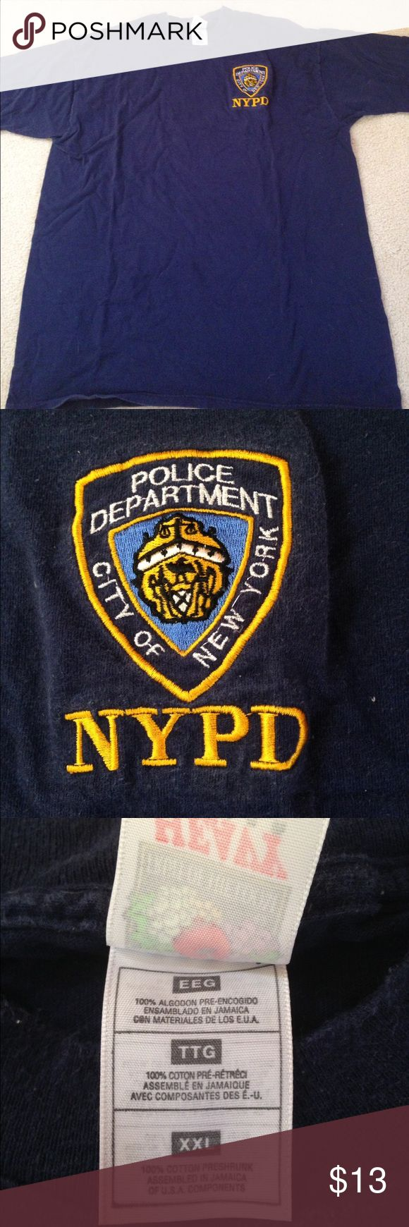 NYPD navy blue tshirt!! This is a cool and fun tshirt! You can wear it to show support for our men and women in blue or just around the house! It comes from a smoke free but pet friendly environment. It has no holes or stains. I don't hold or trade. I don't negotiate the price in the comments. I only sell through poshmark. Shirts Tees - Short Sleeve