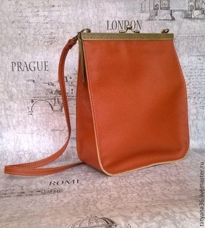 Сумочка с фермуаром оранжевая - оранжевый,сумочка с фермуаром,кожаная сумочка