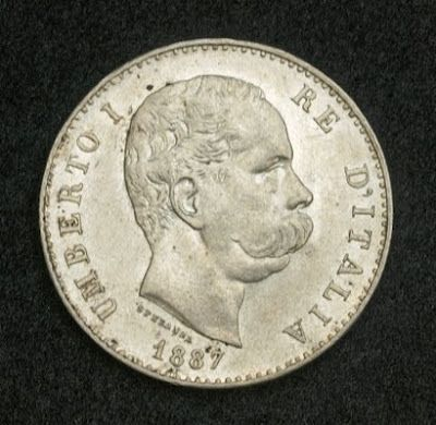 Silver coins of Italy one Lira Silver Coin King Umberto