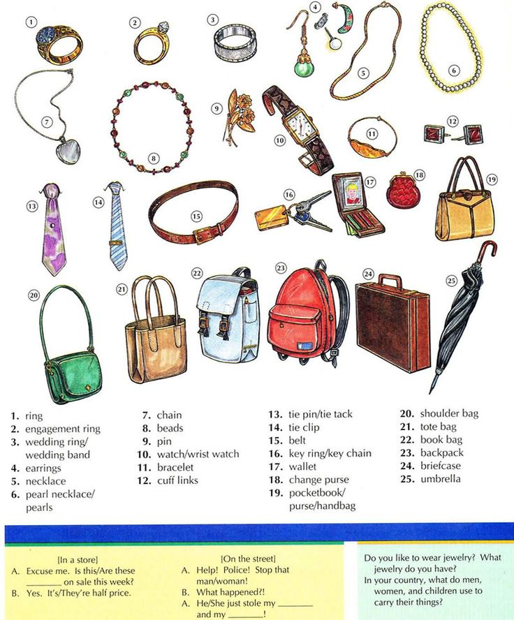 Jewelry and accessories vocabulary using pictures