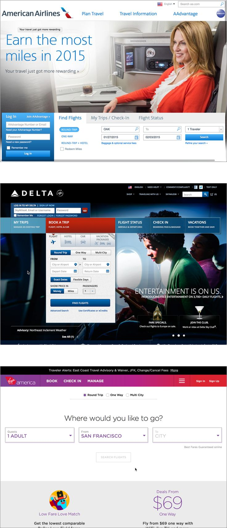 "Three airline websites with slight structural differences that help set them apart; all three keep enough of the ""airline"" typology to avoid confusing users"