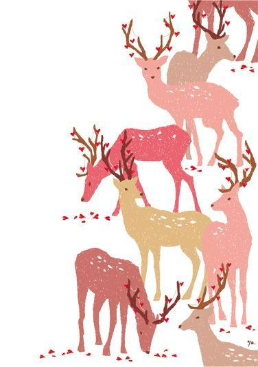Christmas pattern, cute reindeer, decorative illustration