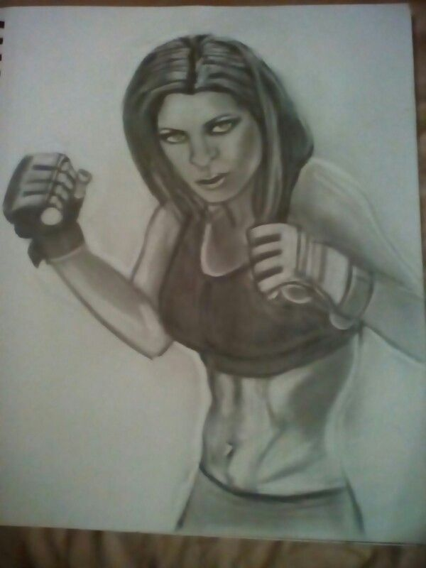 Drawing of a UFC fighter still needs ALOT work done to her but so far so good!