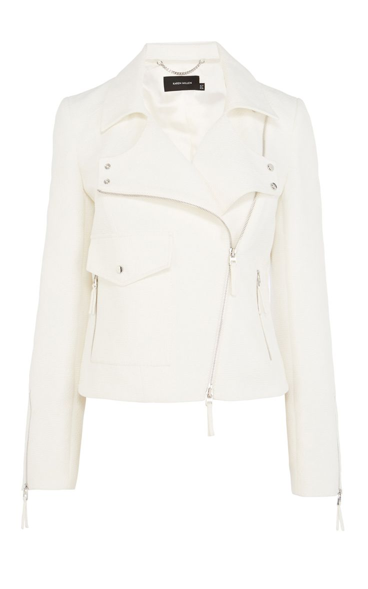 Cotton jacquard biker jacket | Luxury Women's shop_all | Karen Millen